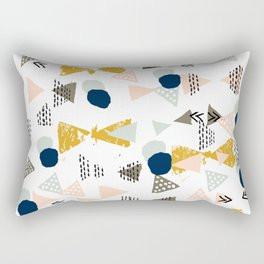Minimal modern color palette navy gold abstract art painted dots pattern Rectangular Pillow