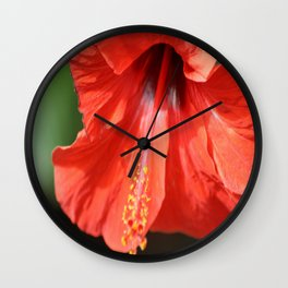 Red Petal and Anther with Pistil of Hibiscus Flower Wall Clock