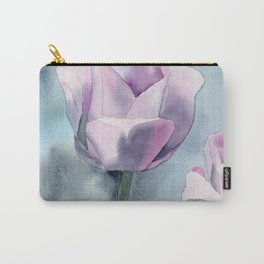 Pink Tulips Watercolor Fine Art Carry-All Pouch