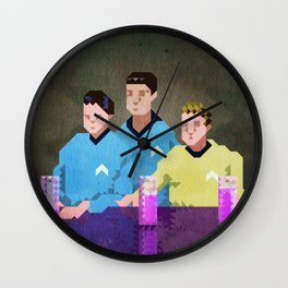Three men from Enterprise sat in a space bar Wall Clock