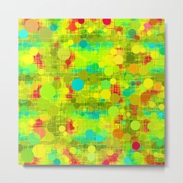 psychedelic geometric circle and square pattern abstract in yellow green blue red Metal Print