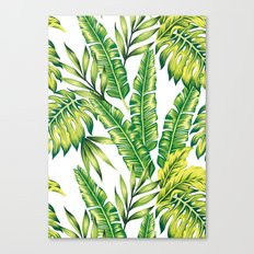 tropical green leaves pattern Canvas Print