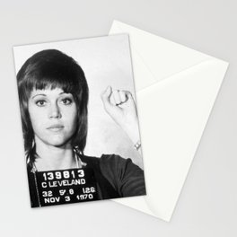 Jane Fonda Mug Shot Vertical Stationery Cards