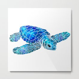 Sea Turtle Watercolor Art Metal Print