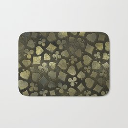 Vintage Gold and Marble Suits Pattern Bath Mat