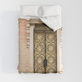 European Architecture - French Door - Colonial French Filigree Doorway Wrought Iron White Cream Peach Pink Black Cottage Classy Quaint Decor Duvet Cover