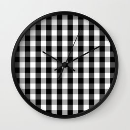 Large Black White Gingham Checked Square Pattern Wall Clock