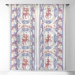 Täcke  Antique Swedish Skåne Rug Print Sheer Curtain