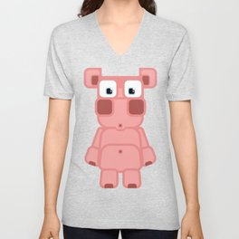 Super cute cartoon pink pig - bring home the bacon with everything for the pig enthusiasts! Unisex V-Neck