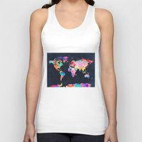 world maps Tank Tops featuring World map by Bekim ART