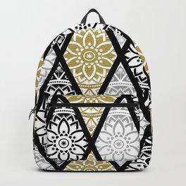 Diamond Mandalas Gold Silver Black Backpack