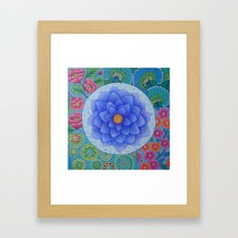 Violet Flower Mandala Framed Art Print