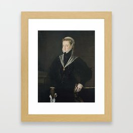 SÁNCHEZ COELLO, Alonso (Benifairó de les Valls, Valencia, 1531-Madrid, 1588) Retrato de doña Juana d Framed Art Print