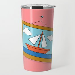 Scene from Moby Dick on pink Travel Mug
