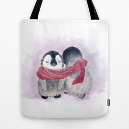 Penguin cuddle Tote Bag
