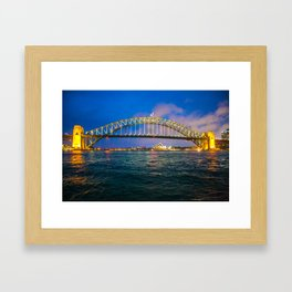 Sydney Opera House and Harbour Bridge at Night II Framed Art Print