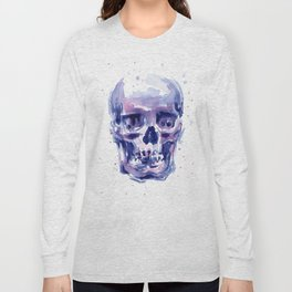 Skull Watercolor Purple Colorful Long Sleeve T-shirt