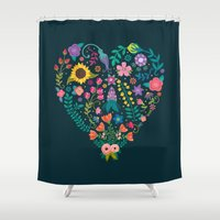 agnes Shower Curtains featuring Floral Heart by Anna Deegan