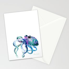 Octopus, Turquoise Green Purple Pink Octopus Design Stationery Cards