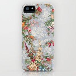 Vintage Floral Silk Pattern Block Print, 1851 iPhone Case