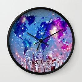 world map city skyline galaxy Wall Clock