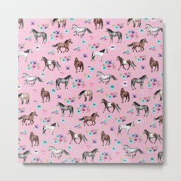 Horses & Flowers, Pink Pattern, Horse Illustration, Little Girls Room, Watercolor Metal Print