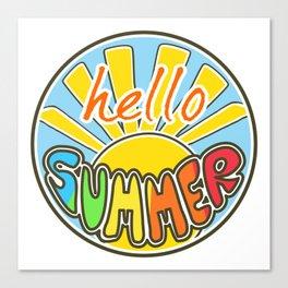 Hello Summer, colorful sticker, Summer sticker, summer t shirt, Canvas Print