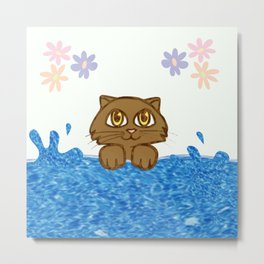Cute Cat in Bath Tub Metal Print