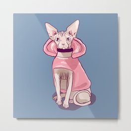 Nude Wrinkly Sphynx Cat Wearing a Pink Hoody - Pastel Colors - Soft Blue Background Metal Print