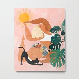 Tropical Yoga #illustration #tropical Metal Print