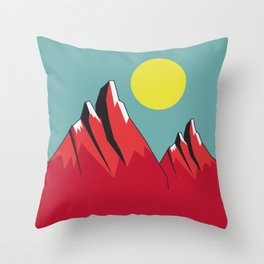 Abstract Landscape - Snow Peak Mountains Throw Pillow