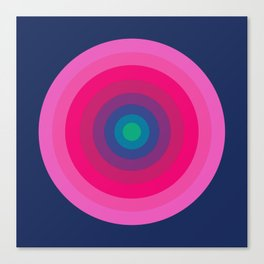 Blue & Pink Retro Bullseye Canvas Print