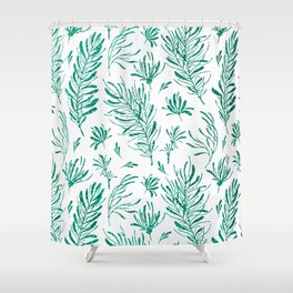 Elegant emerald green glitter foliage Shower Curtain