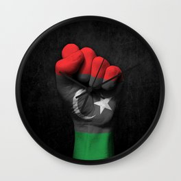Libyan Flag on a Raised Clenched Fist Wall Clock