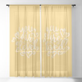 You Are Loved, Sunny Golden Yellow Typography Sheer Curtain