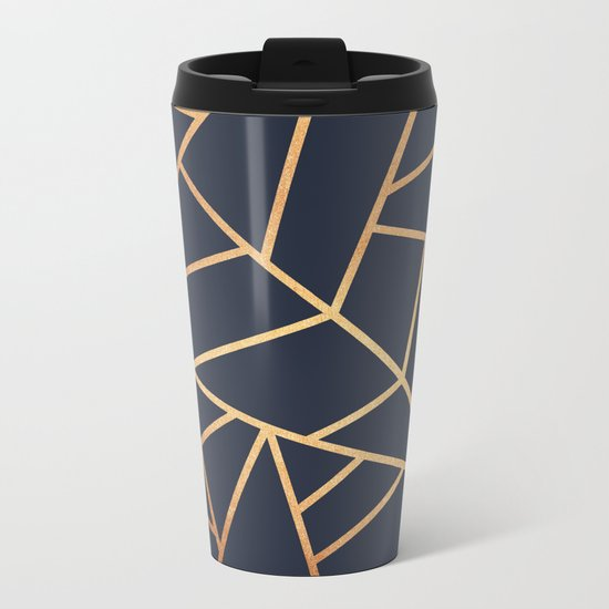 Copper and Midnight Navy Metal Travel Mug