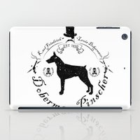 doberman iPad Cases featuring Doberman White by Wesley Geral