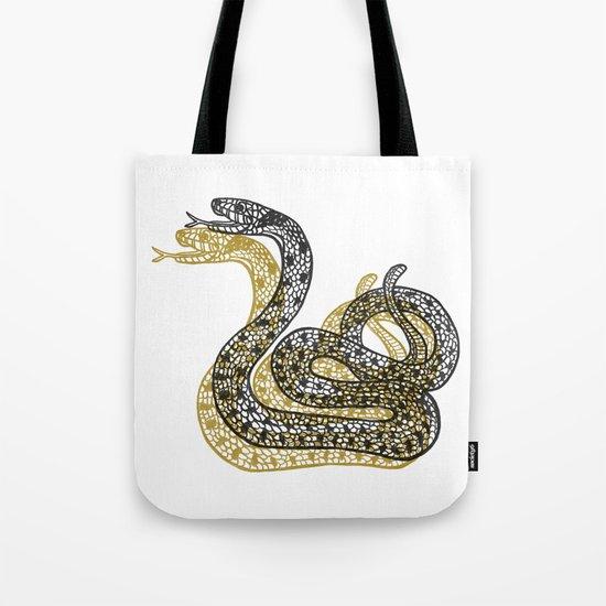 Snake (Black/Gold) Tote Bag