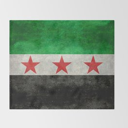 Independence flag of Syria, vintage retro style Throw Blanket