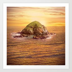 Island in the Ocean at Sunset Art Print