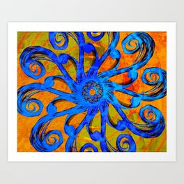Blue and Orange Swirl Abstract Art Print