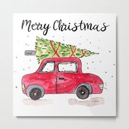 Christmas Tree on Red Car Metal Print