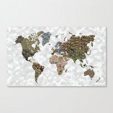 CAMO WORLD ATLAS MAP (white) Canvas Print