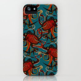 octopus ink teal iPhone Case