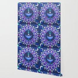 Lotus and Moon Phases Jewelled Mandala Wallpaper