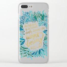 Zelda Fitzgerald – Blue on Black Clear iPhone Case