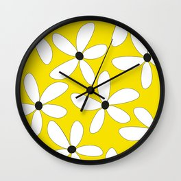 Happy flowers Yellow Wall Clock