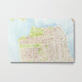 San Francisco CA City Map  Metal Print