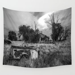 Half Truck - Rusty Old Pickup Bed and Abandoned House in Oklahoma Panhandle Wall Tapestry