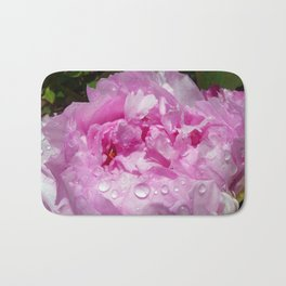 Pink Peony with Rain Drops Bath Mat